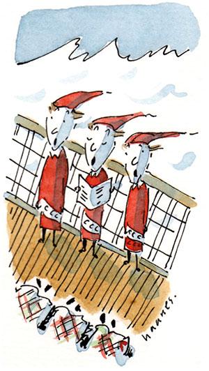 elves singing on a ship